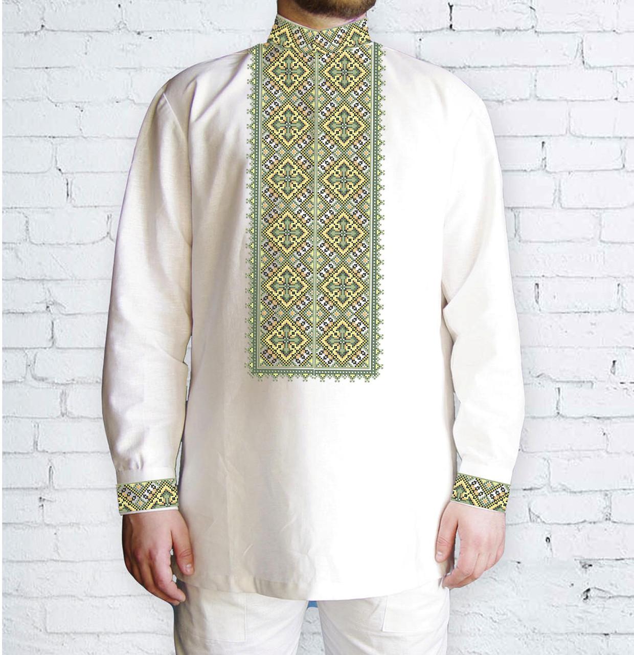 Заготовка чоловічої сорочки та вишиванки для вишивки чи вишивання бісером Бисерок «543 Зелена» (Ч-543-З )