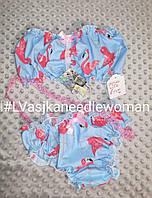 Комплект нижнего белья (летняя пижама) Фламинго на голубом