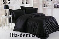 Однотонное черное постельное белье. Сатин. Семейный  комплект