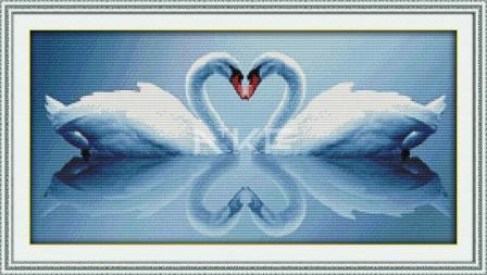 Лебеди и отражение D318 Набор для вышивки крестом с печатью на ткани 14ст