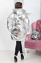 """Стеганая женская куртка на кнопках """"ЗЕФИРКА"""" с капюшоном и карманами (большие размеры), фото 3"""