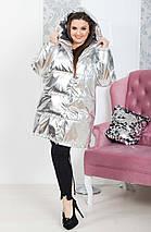 """Стеганая женская куртка на кнопках """"ЗЕФИРКА"""" с капюшоном и карманами (большие размеры), фото 2"""