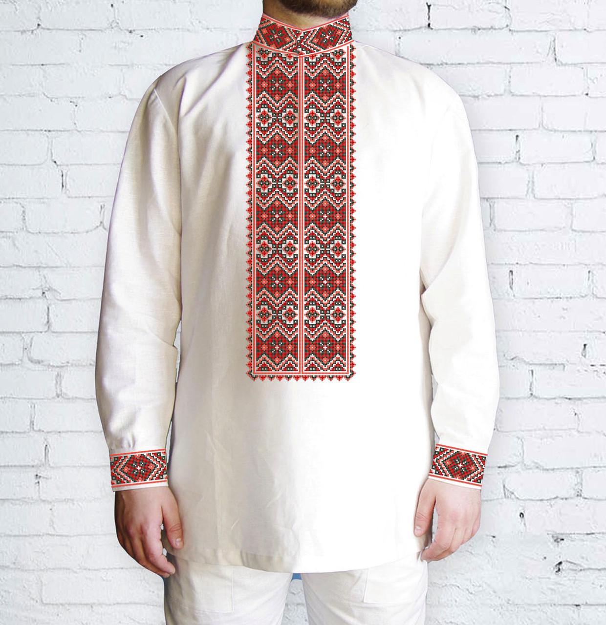 Заготовка чоловічої сорочки та вишиванки для вишивки чи вишивання бісером Бисерок «Ромби червоні 511 Ч» (Ч-511 Ч )