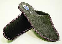 Комнатные тапочки войлочные с сиреневым шнурком, фото 1