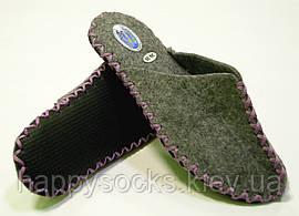 Комнатные тапочки войлочные с сиреневым шнурком