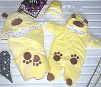"""Набор на выписку """"Панда"""" (конверт, комбинезон, шапочка) для девочек и мальчиков. Весна"""