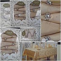 Подарочный комплект скатерть +салфетки+кольца, цвет - золото, скатерть - 150х220см, салфетка -45х45см, 720/395