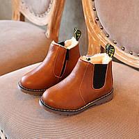 Детские стильные зимние ботинки 26 размер коричневые