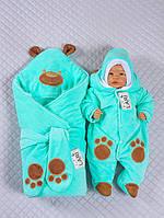 """Набор на выписку """"Панда"""" (конверт, комбинезон, шапочка) для девочек и мальчиков. Мятный, фото 1"""