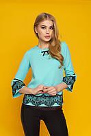 """Красивая женская нарядная блузка с кружевом на рукавах и внизу """"Кристи"""" (минт)"""