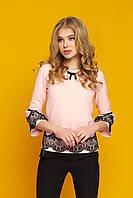 """Красивая женская нарядная блузка с кружевом на рукавах и внизу """"Кристи"""" (персик)"""