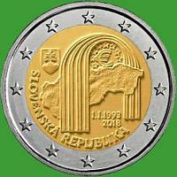 Словакия 2 евро 2018 г. 25-я годовщина Словацкой Республики . UNC.