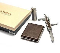 Подарочный набор. Зажигалка, портсигар, нож