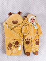 """Набор на выписку """"Панда"""" (конверт, комбинезон, шапочка) для девочек и мальчиков. Карамель, фото 1"""