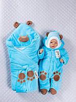 """Набор на выписку """"Панда"""" (конверт, комбинезон, шапочка) для девочек и мальчиков. Бирюзовый, фото 1"""