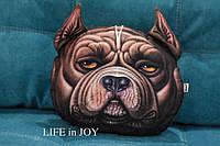 Декоративная плюшевая подушка с 3D принтом собаки для автомобиля