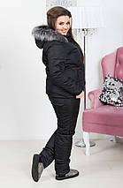 """Теплый женский дутый костюм """"Under Armour"""" с комбинезоном (большие размеры), фото 2"""