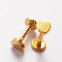"""Для пирсинга козелка уха (микроштанга 6 мм) """"Сердце"""". Медицинская сталь, золотое анодирование., фото 1"""