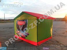 торговая палатка с усиленным каркасом из квадратной профильной трубы 20х20 мм, тент комбинированный, полная запечатка задней стенки палатки