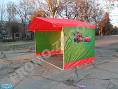 торговая палатка с усиленным каркасом из квадратной профильной трубы 20х20 мм, тент комбинированный, полноцветная нашивка на палатке