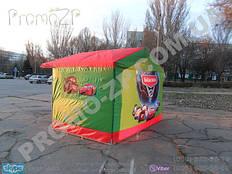 торговая палатка с усиленным каркасом из квадратной профильной трубы 20х20 мм, тент комбинированный, полноцветная нашивка на боковой стенке и полная запечатка задней стенки палатки