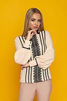"""Женская нарядная шифоновая блузка с кружевом, горловиной-стойкой, длинный рукав фонариком """"Юлианна"""" (бежевый)"""