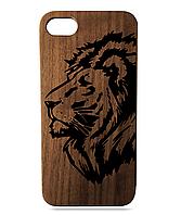 """Дерев'яний чохол  Wooden Cases для Apple iPhone 7 plus з лазерним гравіюванням """"Лев"""" Горіх"""