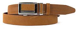Качественный прочный мужской кожаный ремень с качественной пряжкой автомат 3,5 см Украина (102458) коричневый