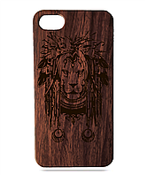 """Дерев'яний чохол  Wooden Cases для Apple iPhone 7 plus з лазерним гравіюванням """"Lion"""" Червоне Дерево"""