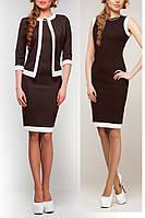 Комплект платья с пиджаком, цвет темный шоколад