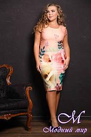 Женское красивое летнее платье с цветами батал (р. 50, 52, 54, 56) арт. 474