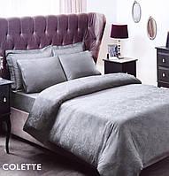 Жаккардовое постельное белье евро размера Tac COLETTE СЕРЫЙ SV13