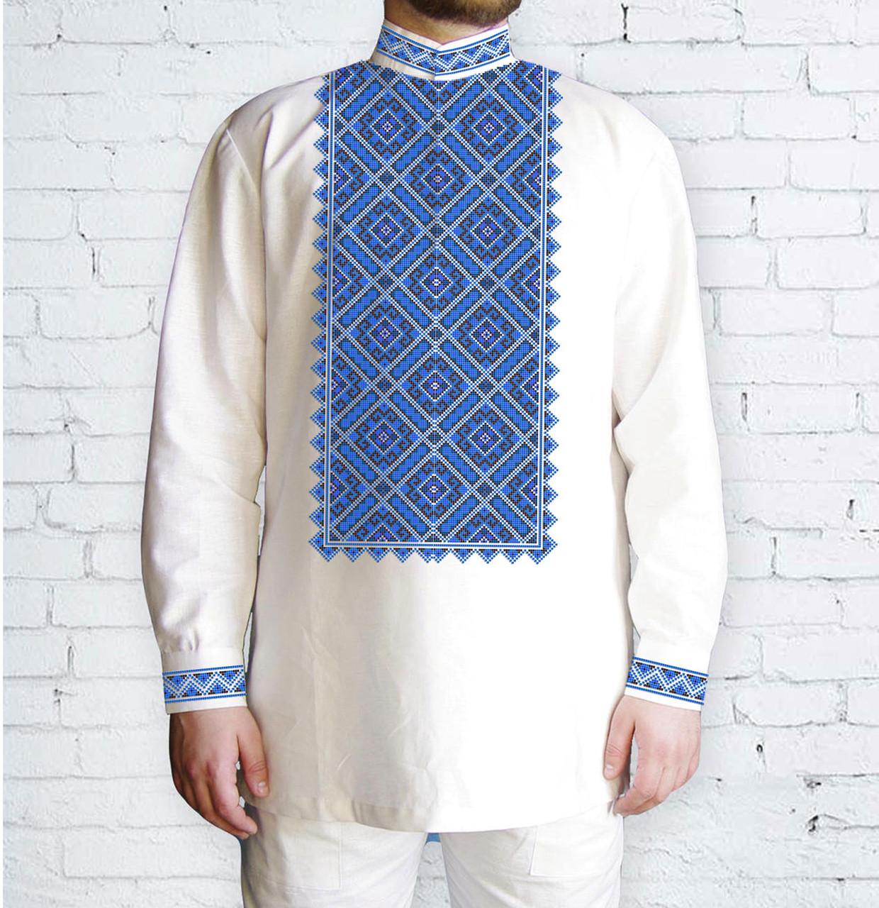 Заготовка чоловічої сорочки та вишиванки для вишивки чи вишивання бісером Бисерок «Синевір» (Ч-581 Г )