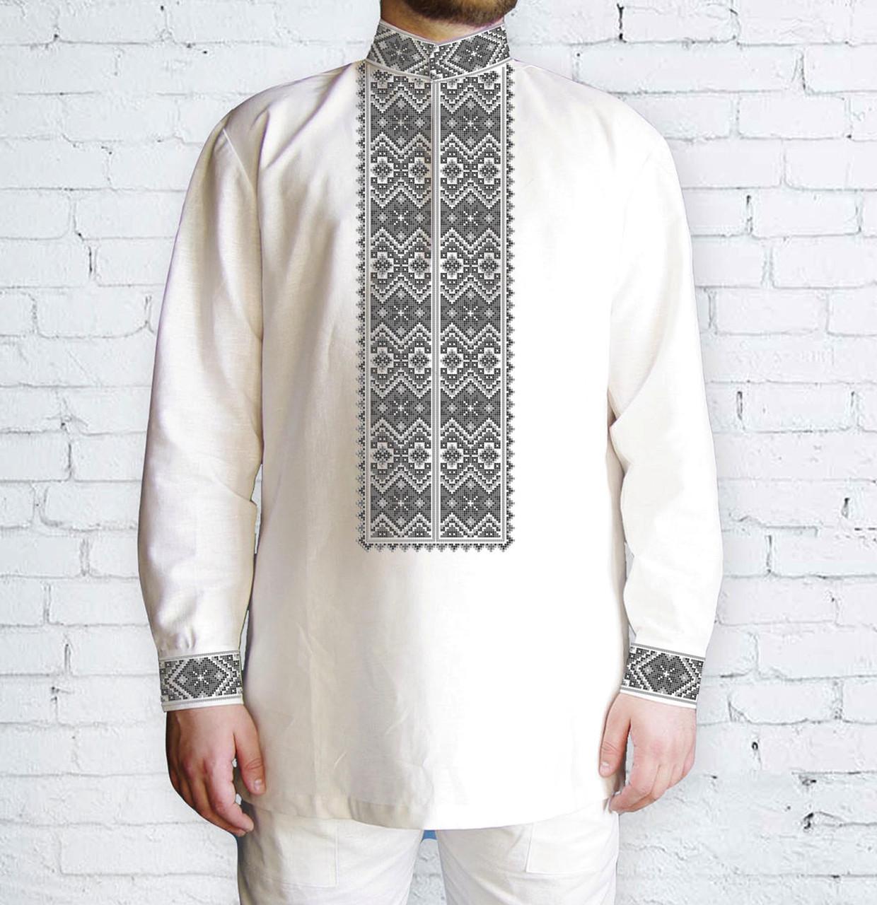 Заготовка чоловічої сорочки та вишиванки для вишивки чи вишивання бісером Бисерок «Ромби сірі 511 С» (Ч-511 С )