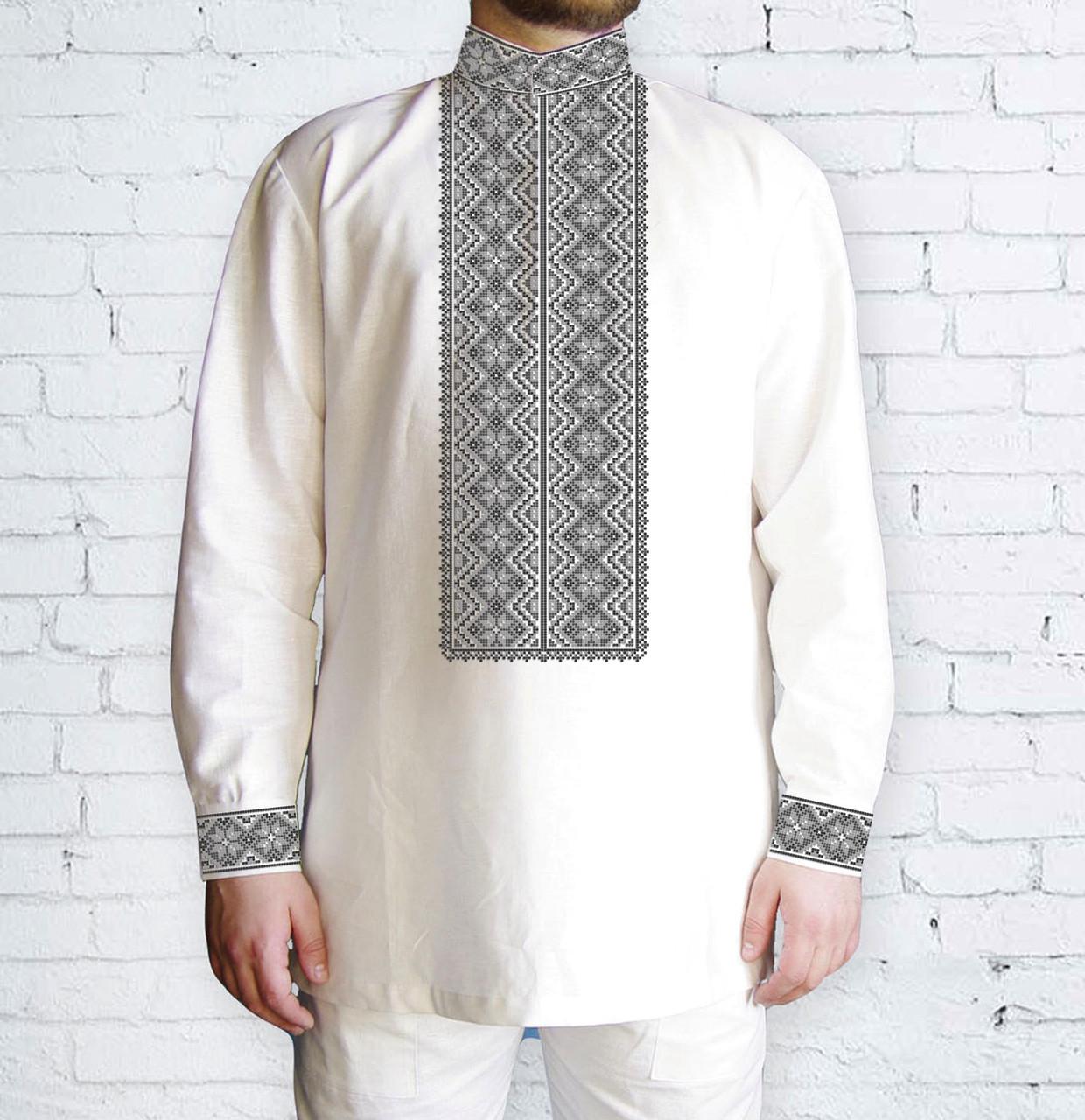 Заготовка чоловічої сорочки та вишиванки для вишивки чи вишивання бісером Бисерок «Ромби сірі 510 С» (Ч-510 С )