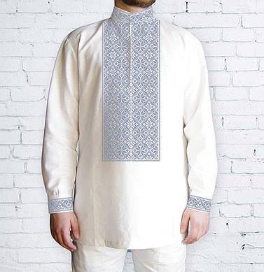 Заготовка чоловічої сорочки та вишиванки для вишивки чи вишивання бісером Бисерок «Ромби сірі 509С» (Ч-509 С )