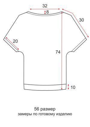 Летняя кэжуал туника - 56 размер - чертеж