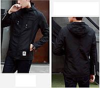 Молодёжная подростковая  мужская куртка ветровка с капюшоном черная р .М(42-44) Замеры в описании!