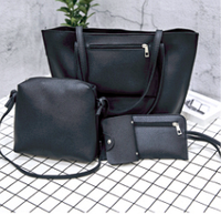 Черный набор из 3-х женских сумок с карманом