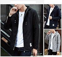 Молодёжная подростковая демисезонная мужская куртка ветровка с капюшоном