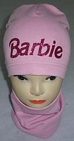 "Шапка трикотажная + хомут ""Barbie"" 3-8 лет м 6003, разные цвета"