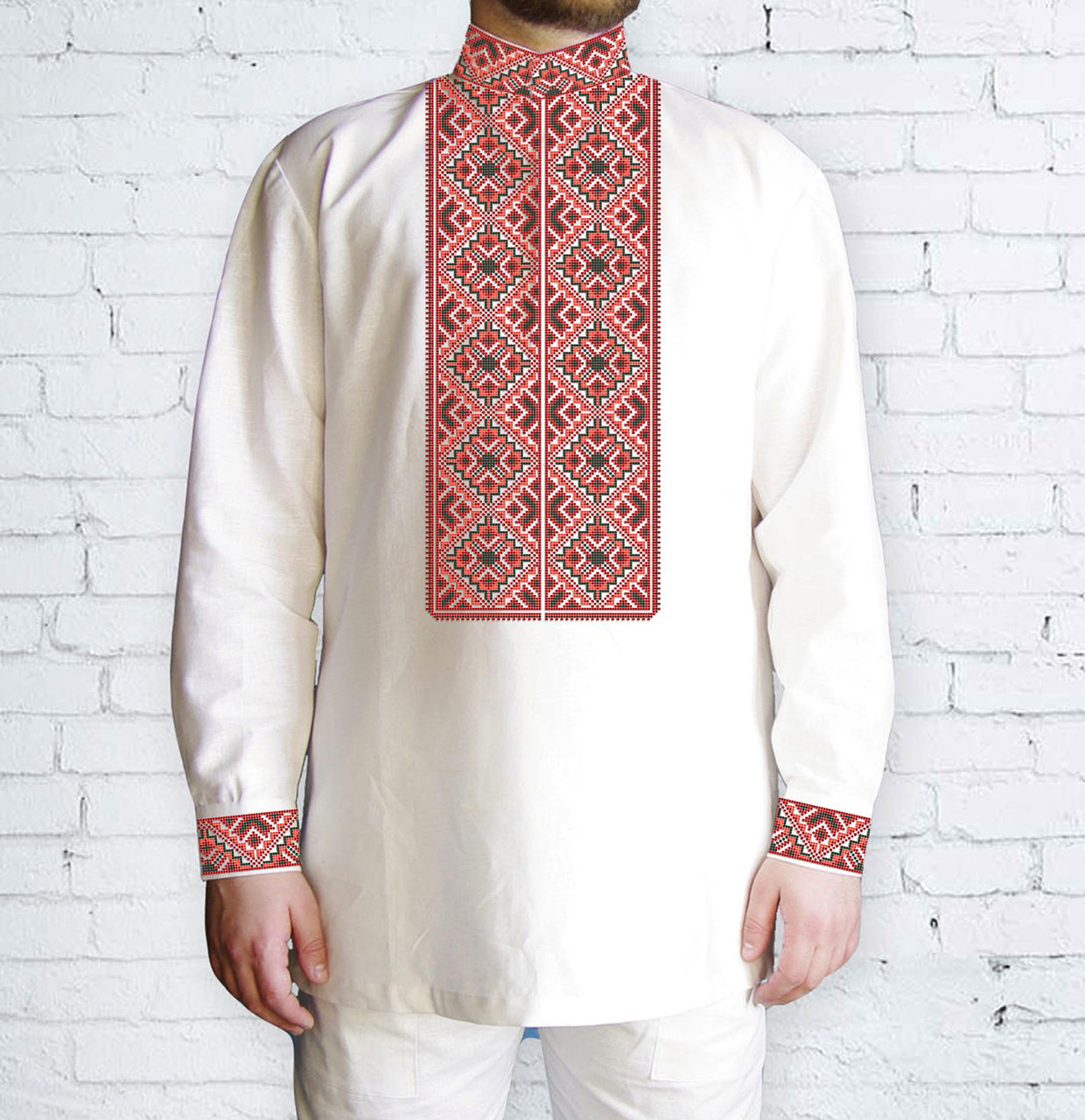 Заготовка чоловічої сорочки та вишиванки для вишивки чи вишивання бісером Бисерок «Ромби червоні 508Ч» (Ч-508 Ч )