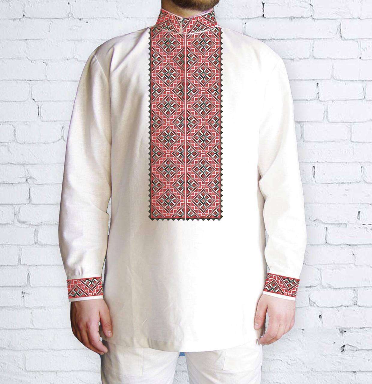 Заготовка чоловічої сорочки та вишиванки для вишивки чи вишивання бісером Бисерок «Ромби червоні» (Ч-501 Ч )