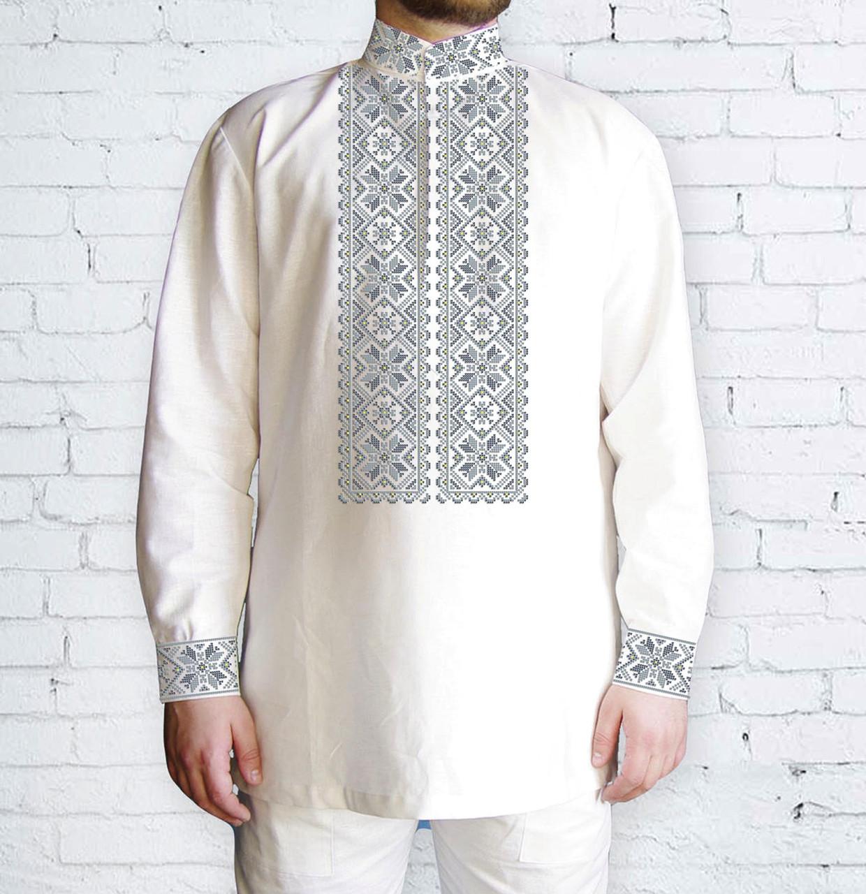 Заготовка чоловічої сорочки та вишиванки для вишивки чи вишивання бісером Бисерок «Сірі зірочки» (Ч-504 С )
