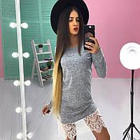 Платье модное с кружевом триктаж ангора софт SMs782