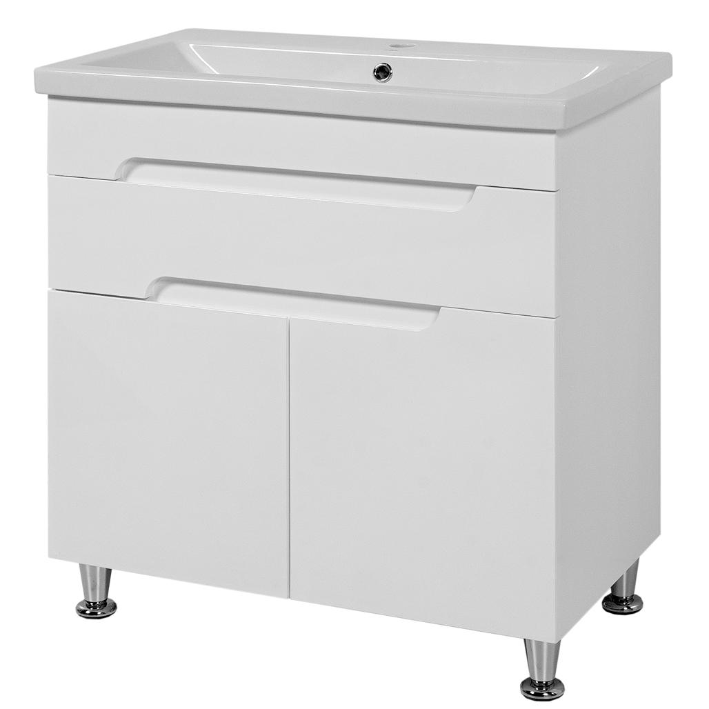 Тумба под раковину для ванной комнаты Симпл-Белый 80-14 с умывальником Комо 80 ПИК