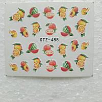 """Наклейка на ногти, наклейка для ногтей, ногтевой дизайн """"фрукты """" 24 шт набор"""