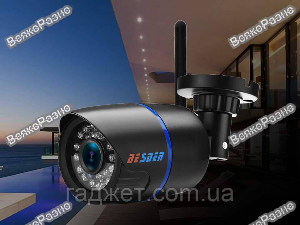 Беспроводная уличная WiFi IP камера BESDER разрешение 720Р. Наружная Wi Fi Ip  камера черного цвета.