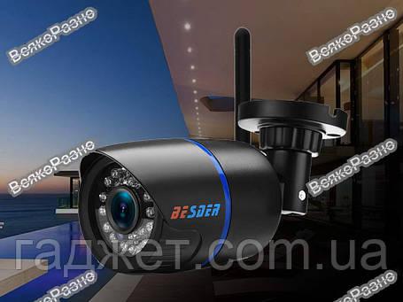 Беспроводная уличная WiFi IP камера BESDER разрешение 720Р. Наружная Wi Fi Ip  камера черного цвета., фото 2