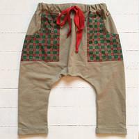 86-92 см. Штаны гаремы оливкового цвета. , фото 1